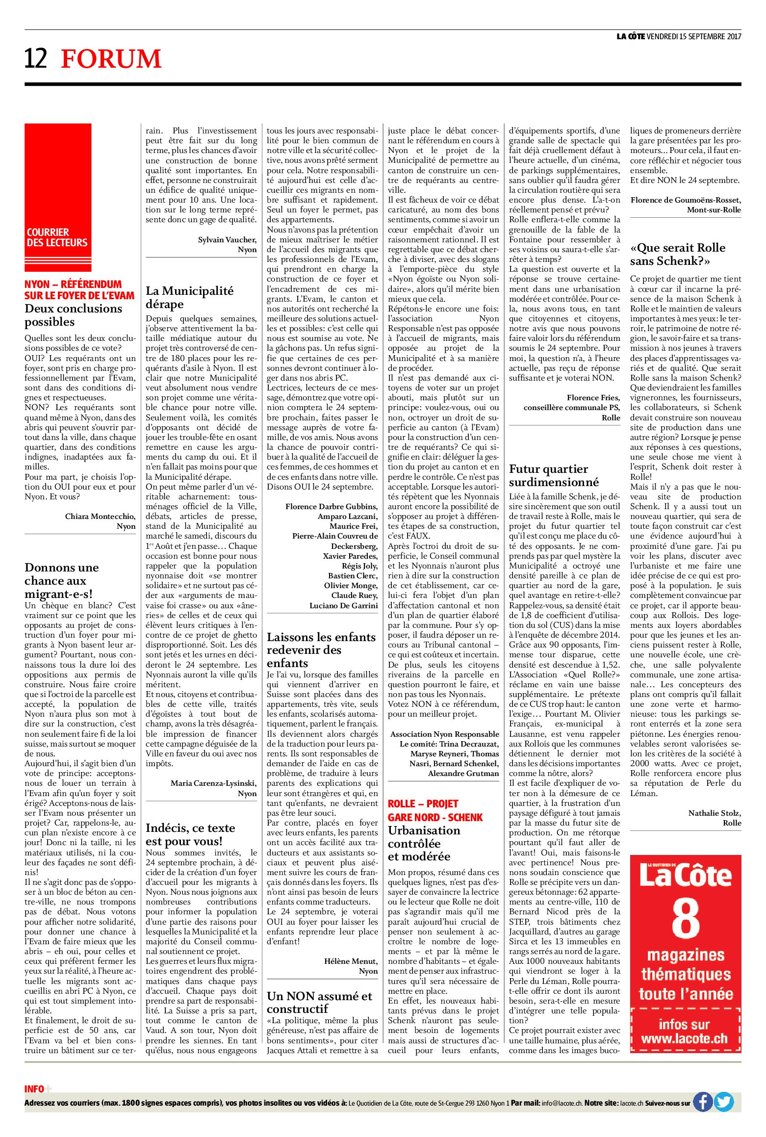 Courrier des lecteurs – journal La Côte – 15/09/2017