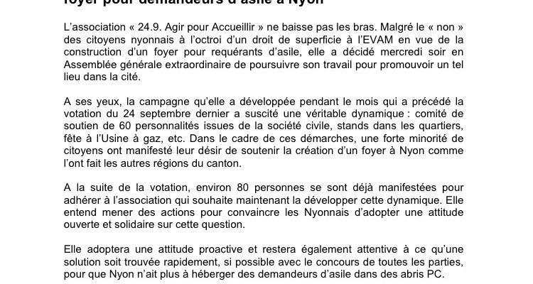 Communiqué de presse suite AG 1.11.17